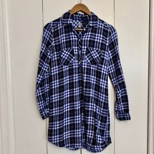 Aerie Blue Plaid Flannel Tunic Popover XS